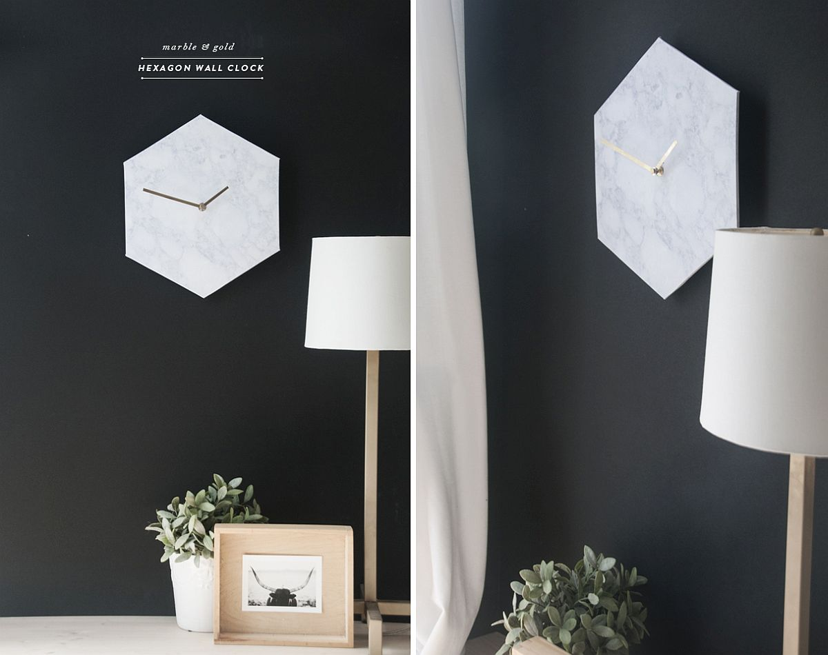 Homemade Hexagon Marble Wall Clock