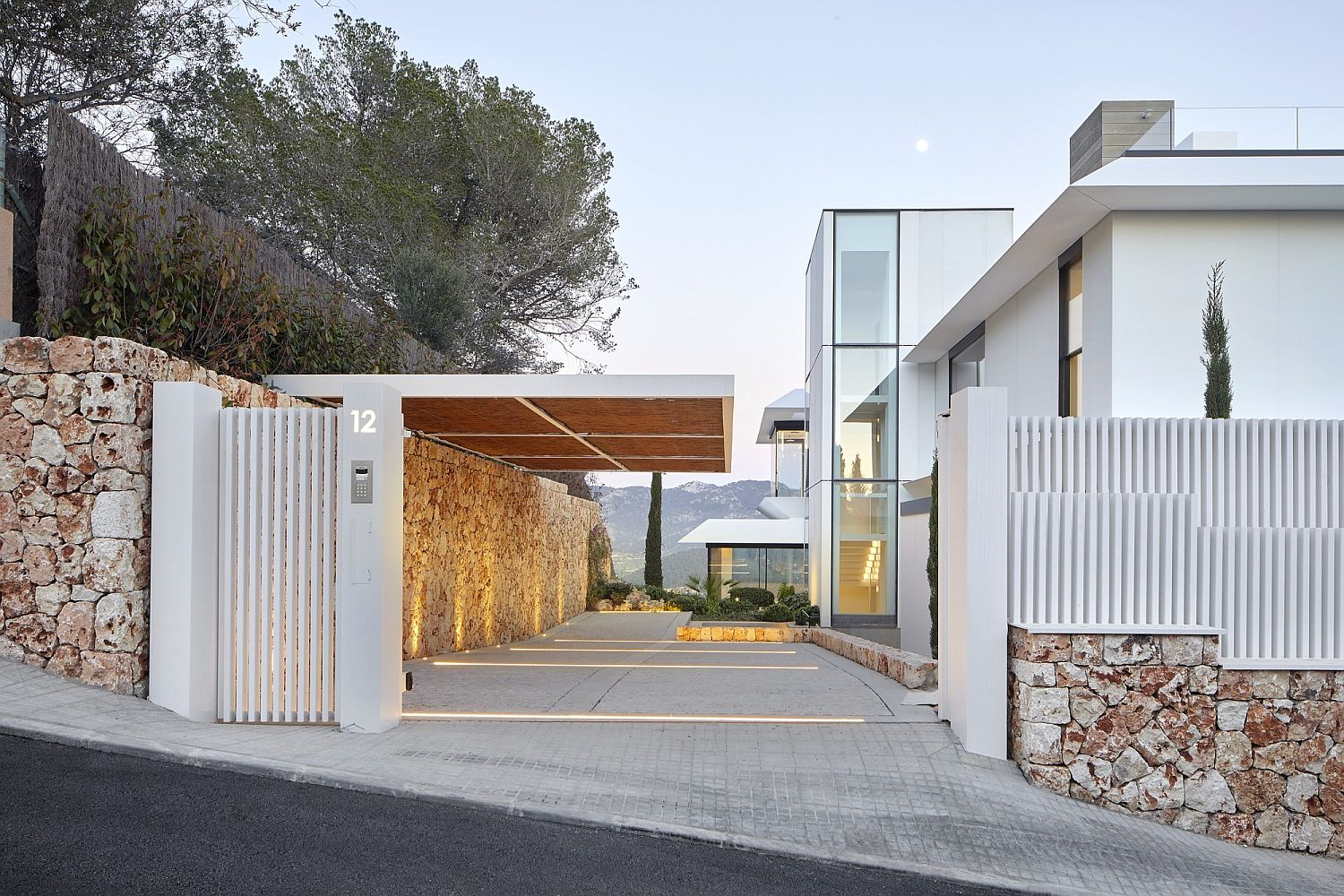 Illuminated entrance to the contemporary home in Mallorca