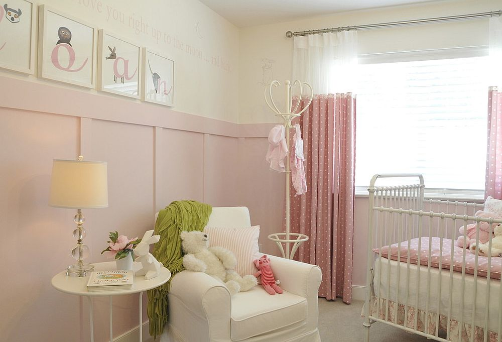Light-filled nursery in pink with shabby chic style