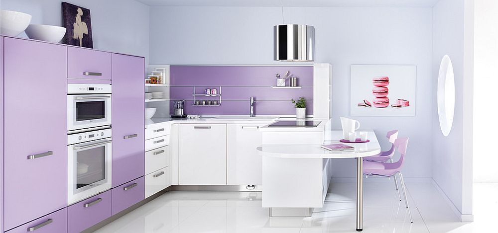 Lighter shades of violet are perfect for the modern kitchen in white