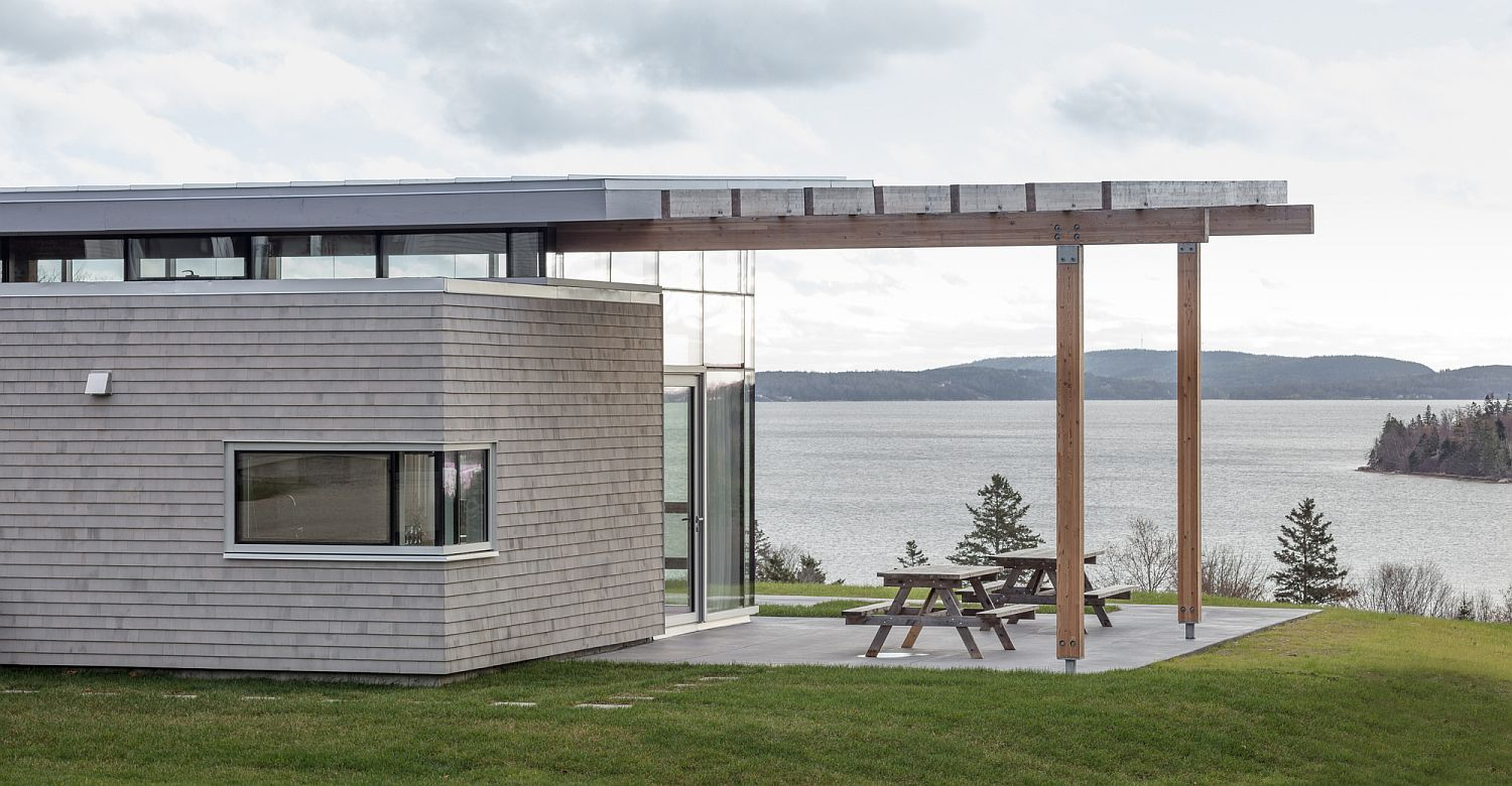 Lovely overhang adds to the outdoor deck with ocean views