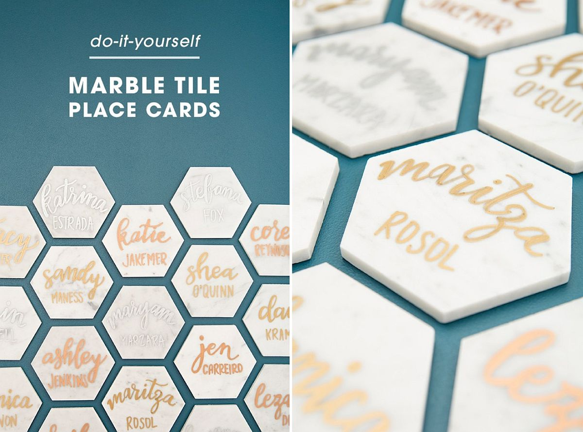 Marble tile place cards DIY