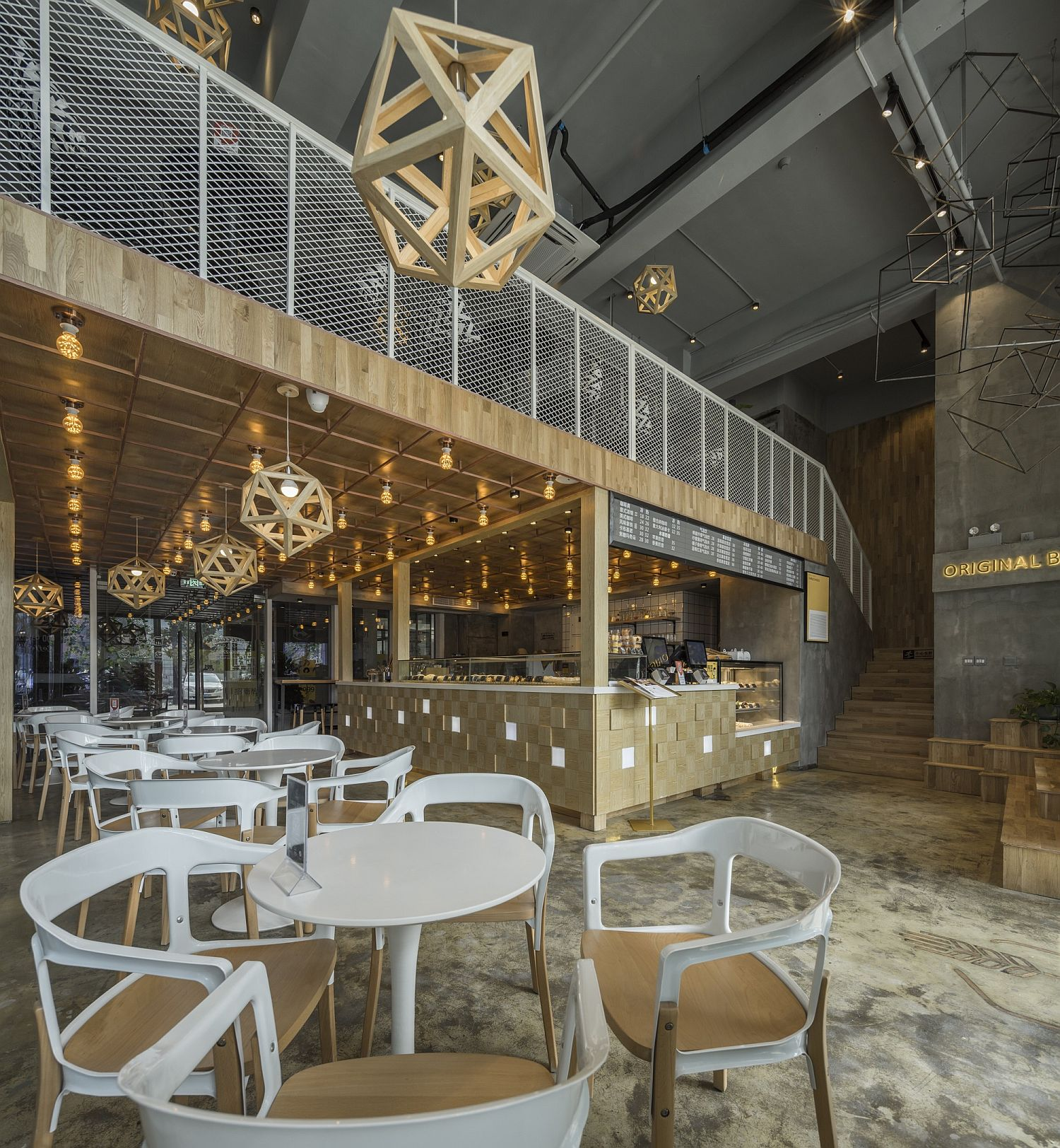 Metal-and-wood-shape-a-unique-interior-inside-the-restaurant