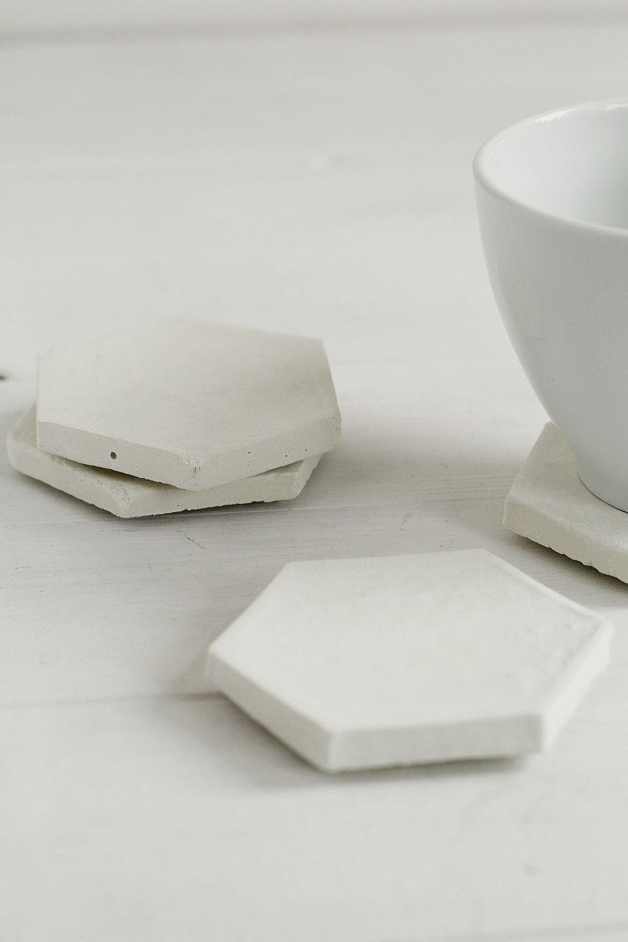 Minimal Concrete Hexagon Coasters