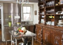 Modern-eclectic-kitchen-with-ornate-wooden-shelving-and-stainless-steel-island-217x155