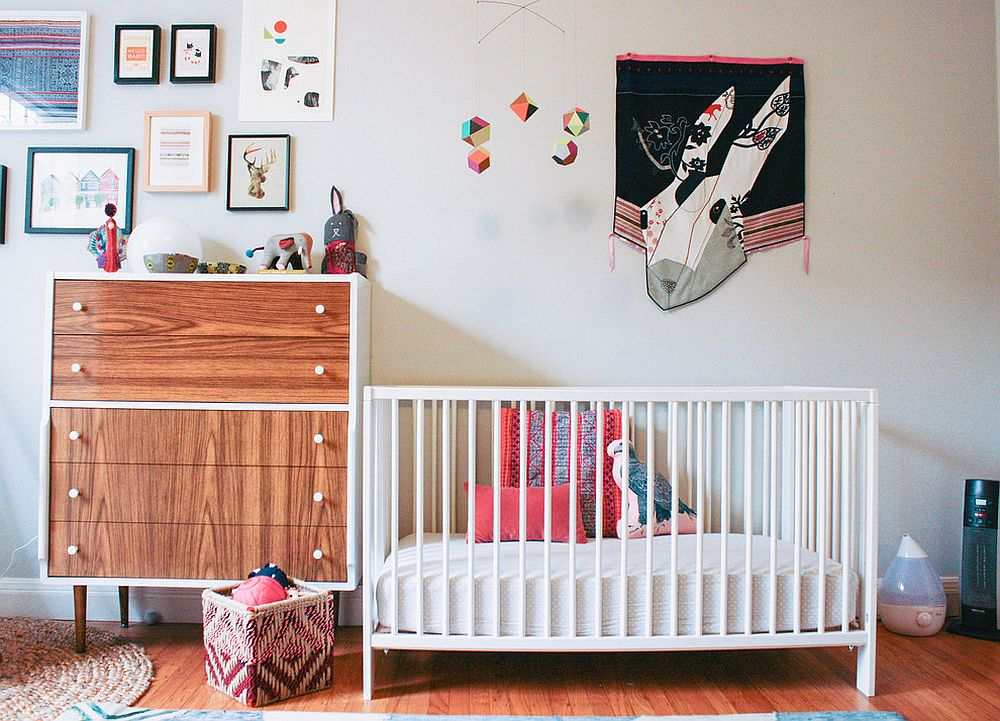 Modern nursery with eclectic charm that is good for both baby boy and baby girl