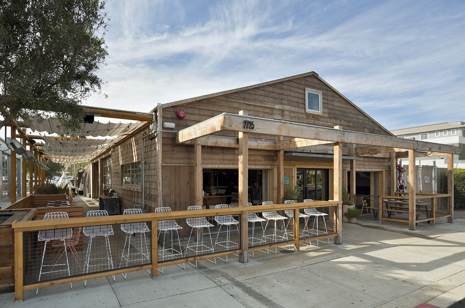 New dining area and cafe at the transformed auto repair shop in California