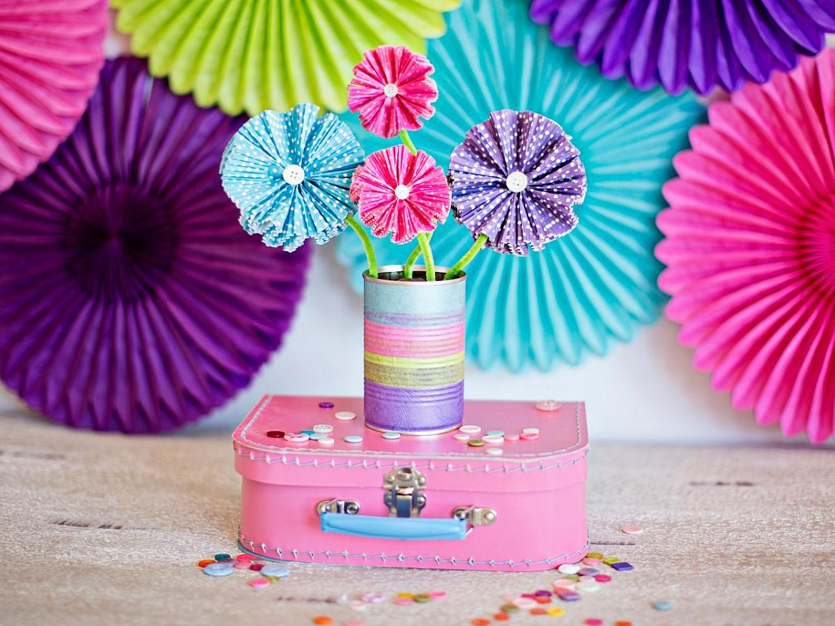 Paper Flowers Using Cupcake Liners bring purple along with pink!