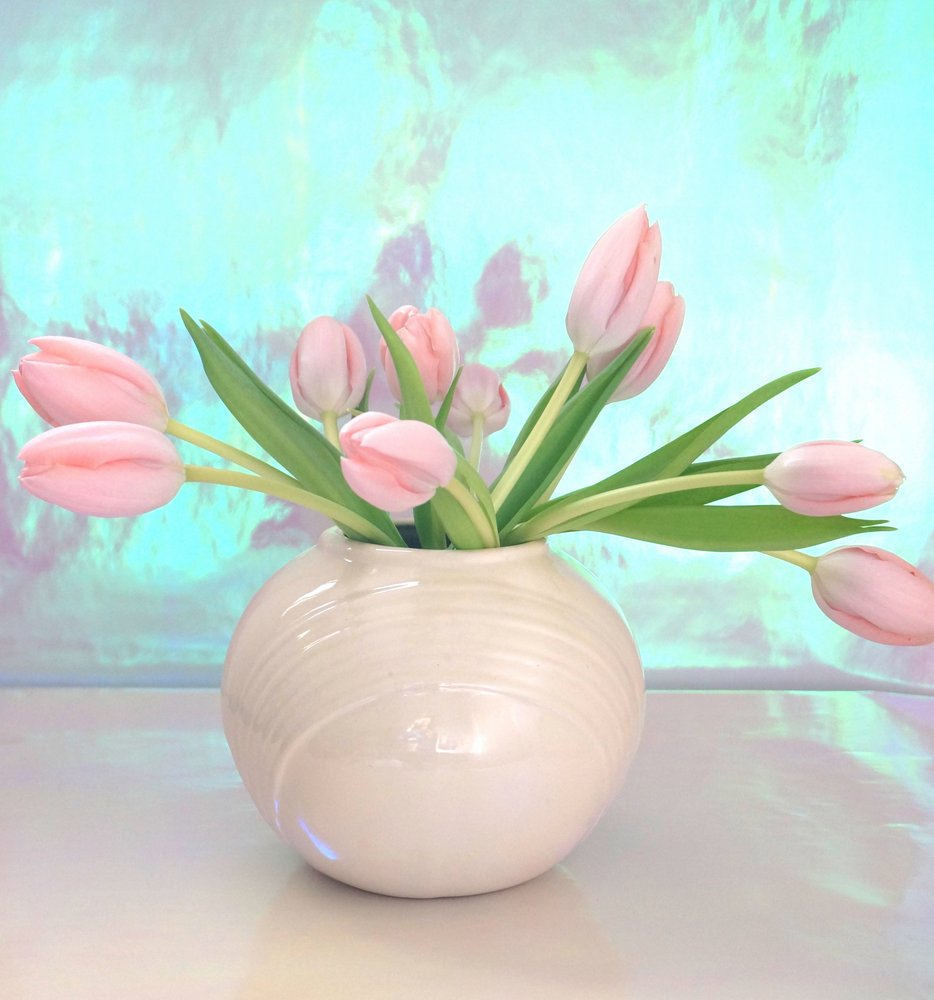 Pink tulips in a Deco vase