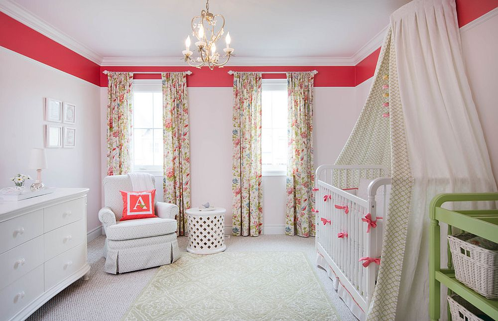 Pop of bright pink enlivens the shabby chic nursery in white