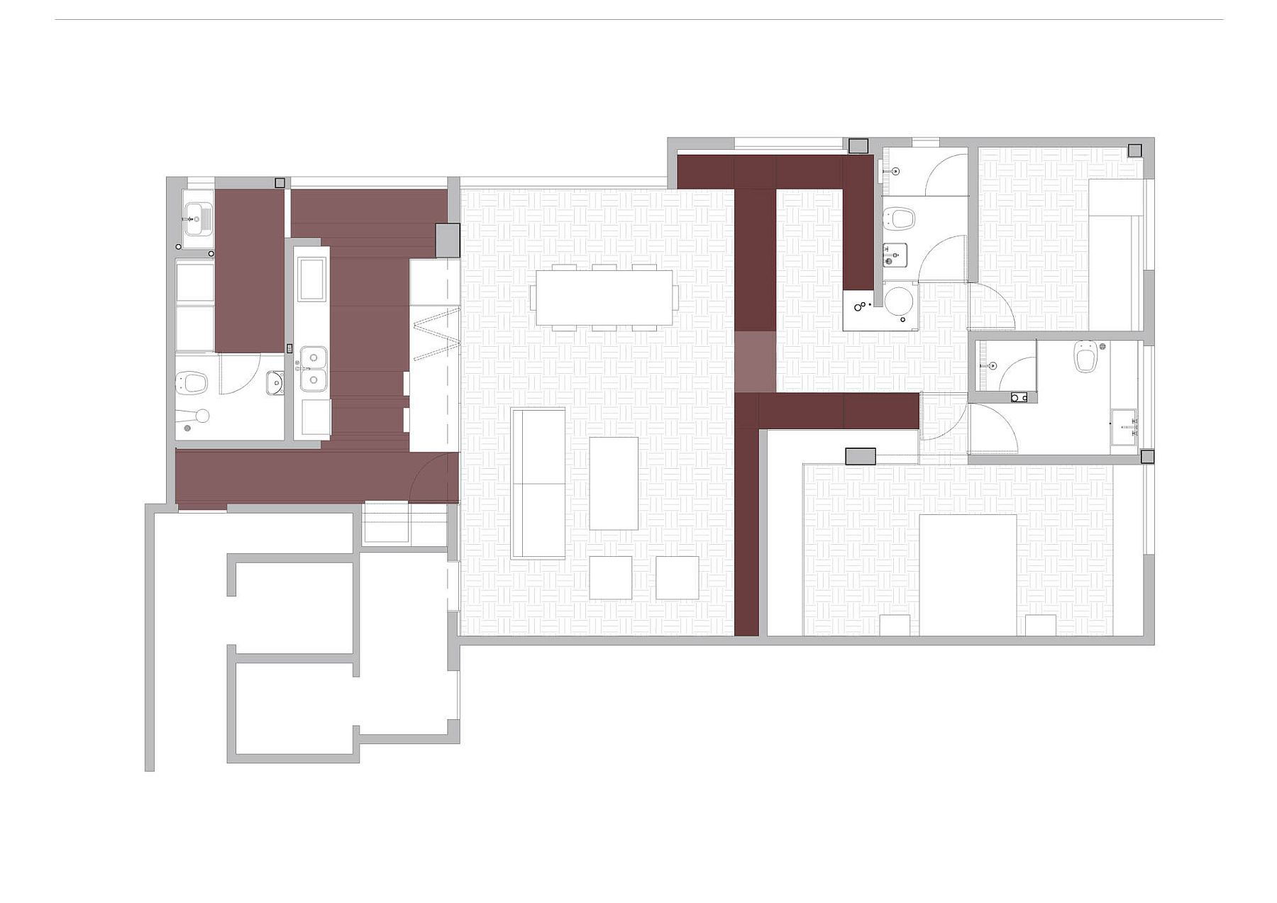 Revamped floor plan of the terracota apartment