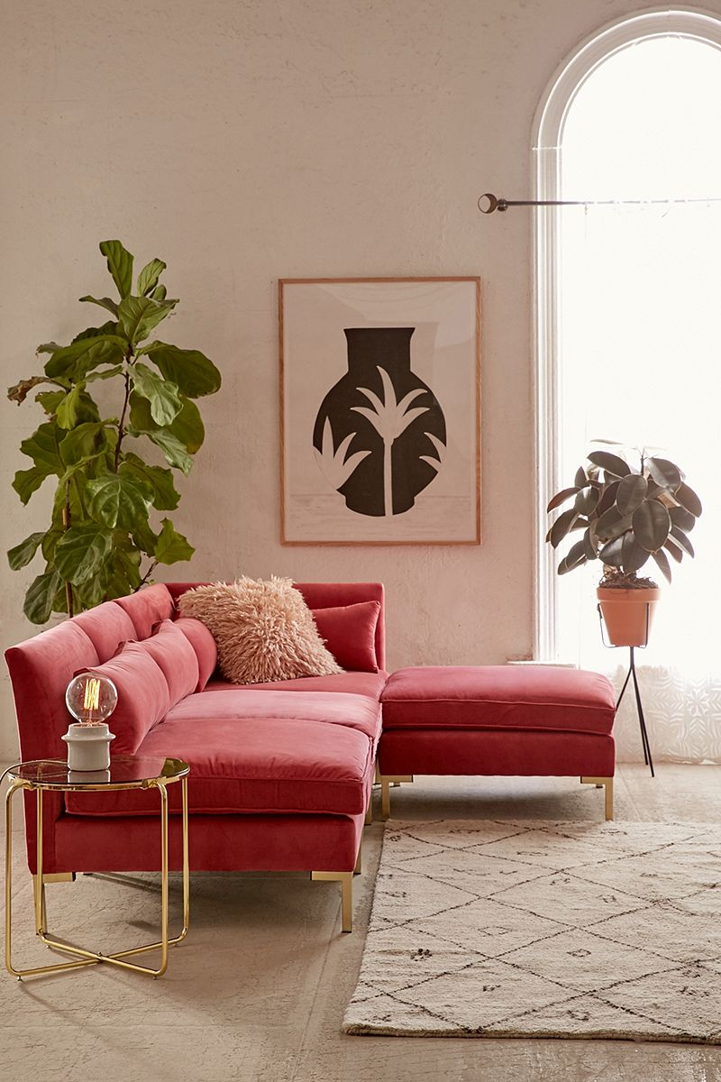 Rose velvet sofa from Urban Outfitters