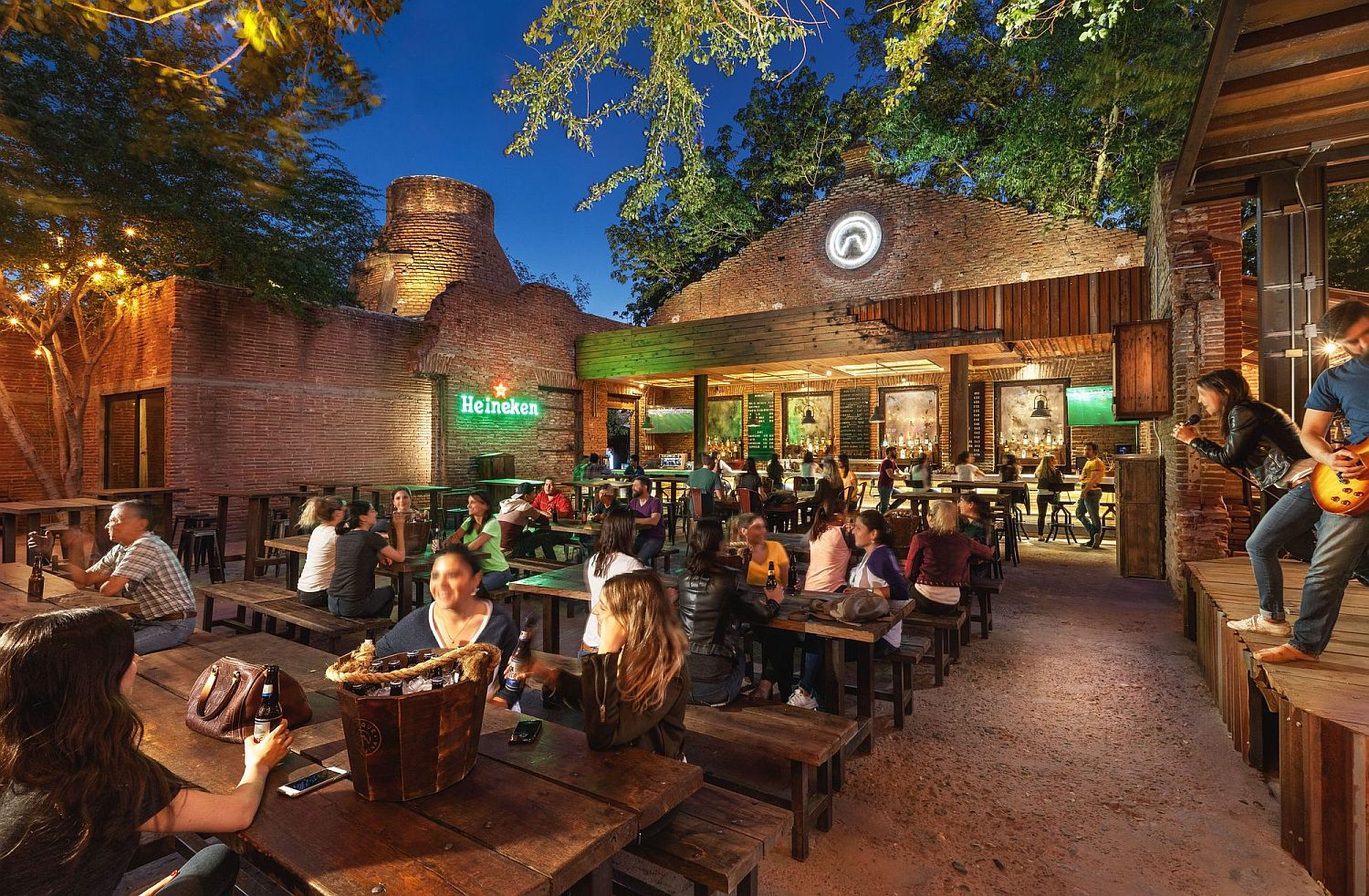 Ruins of an old textile factory turned into a stunning bar and hangout