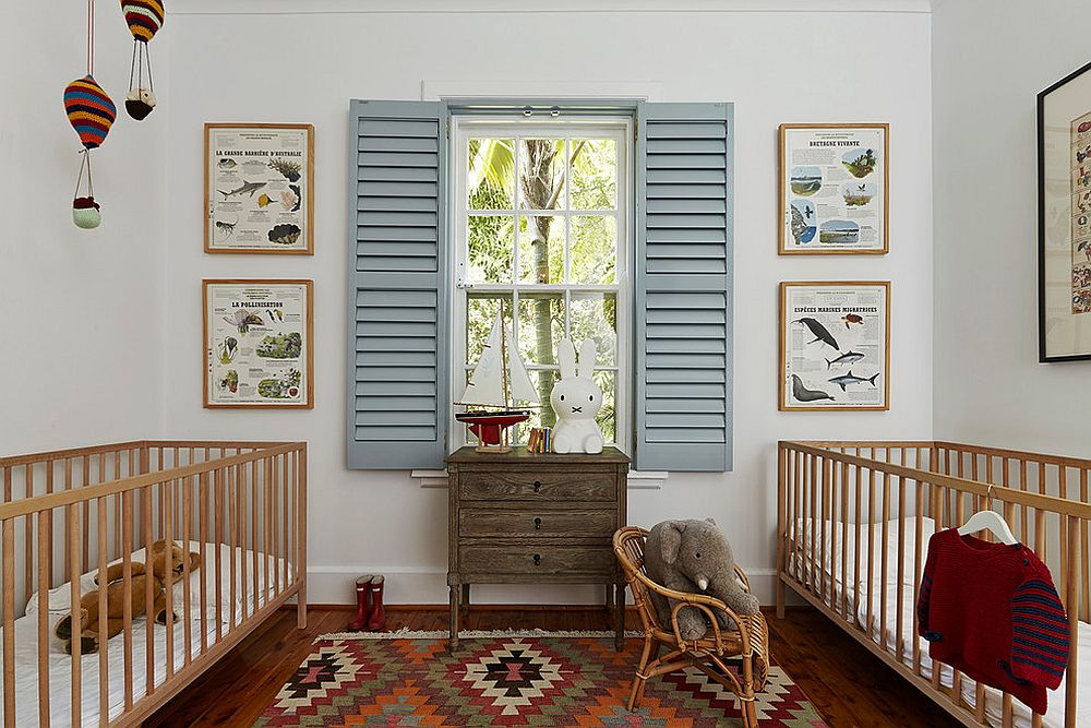 Sensible and shabby chic nursery with twin cribs