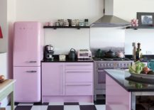 Shabby-chic-kitchen-with-light-violet-glint-and-black-and-white-floor-tiles-217x155