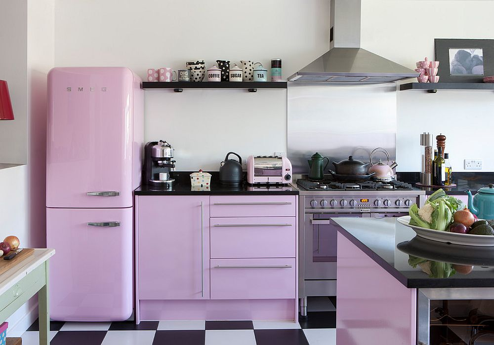 Shabby chic kitchen with light violet glint and black and white floor tiles