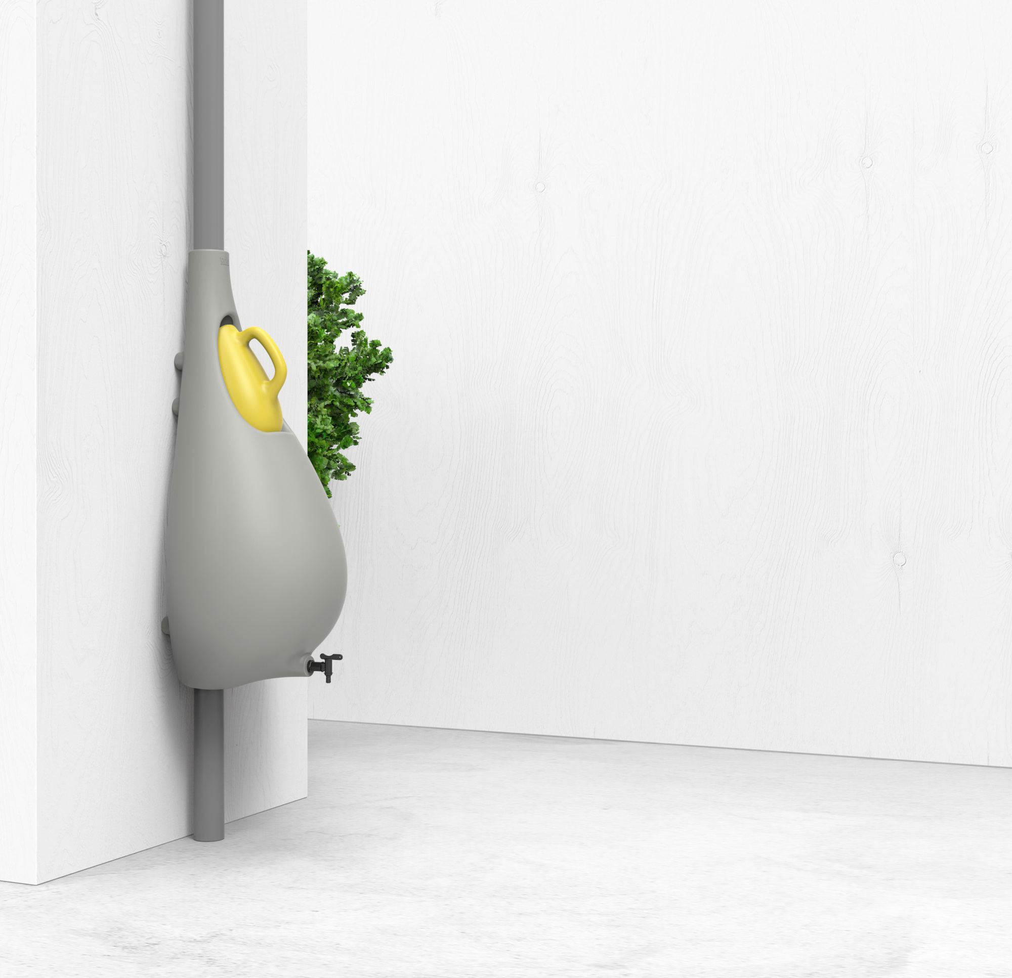 Sleek design of the rain barrel lets it fit in pretty much anywhere