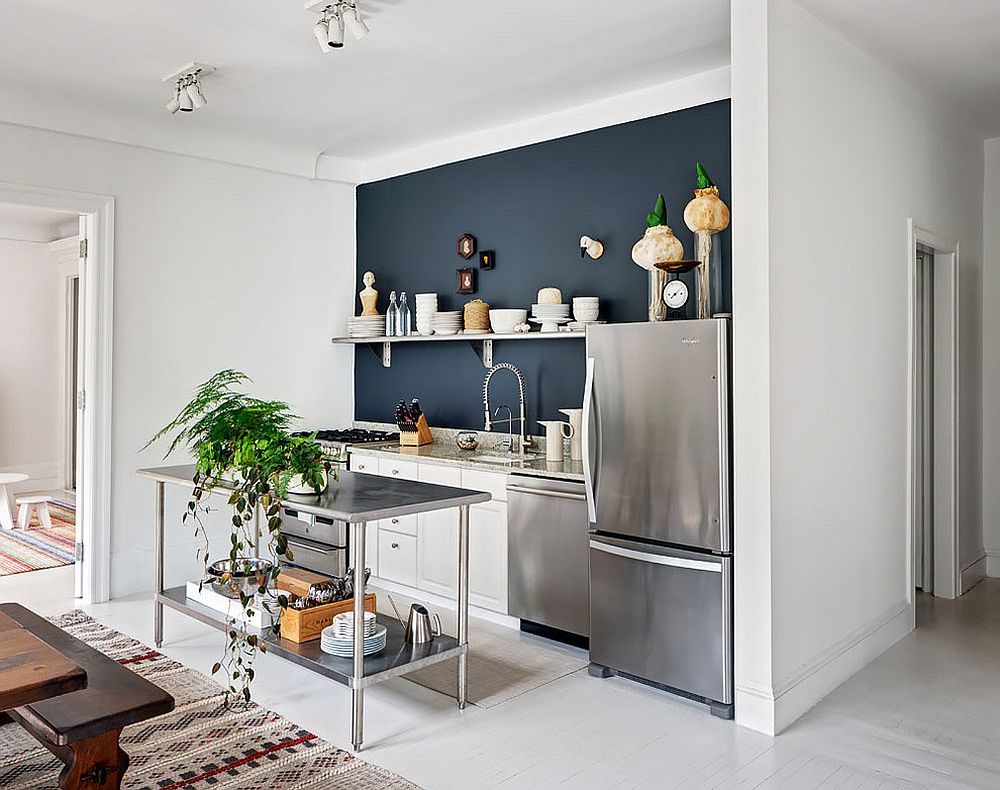 Small contemporary kitchen with stainless steel island