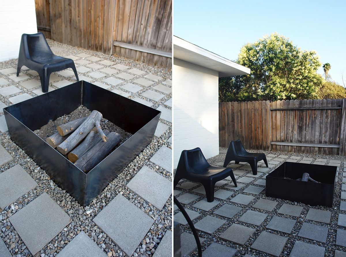 Square metal DIY fire pit idea