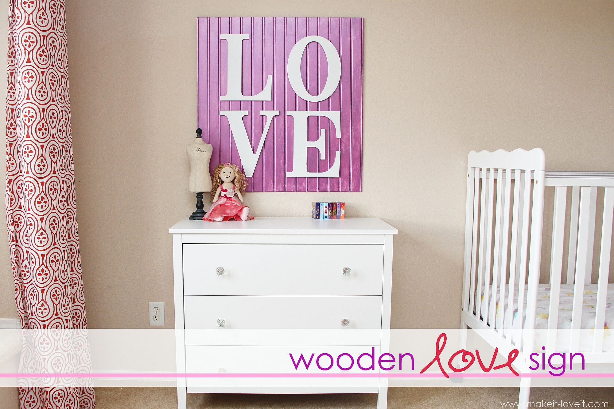 Striking and classy wooden love sign in purple