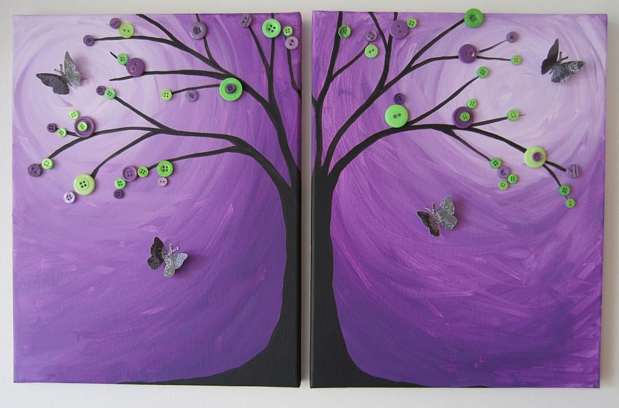 Stunning purple background with button tree