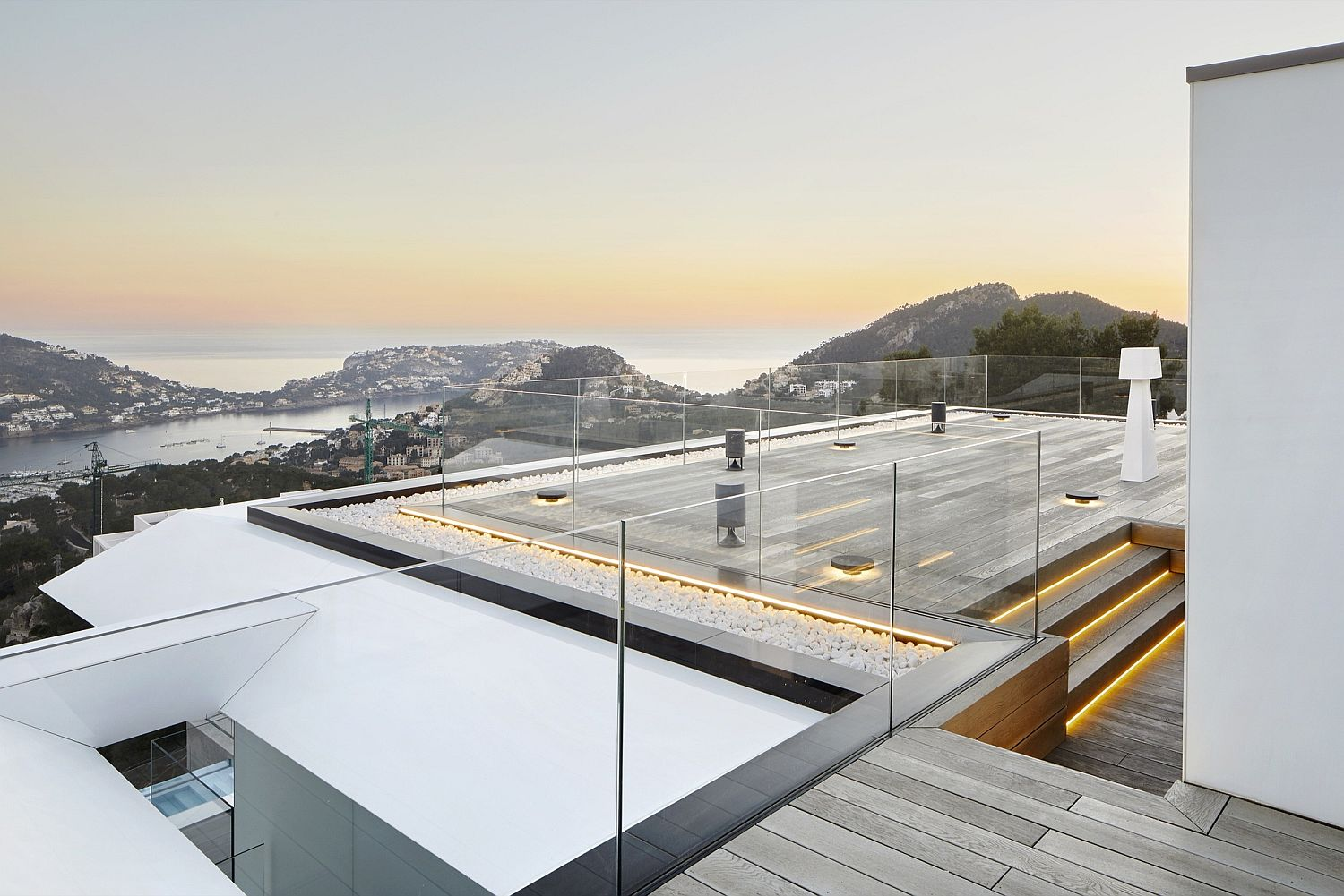 Stunning view of the sea and the city below from the expansive deck
