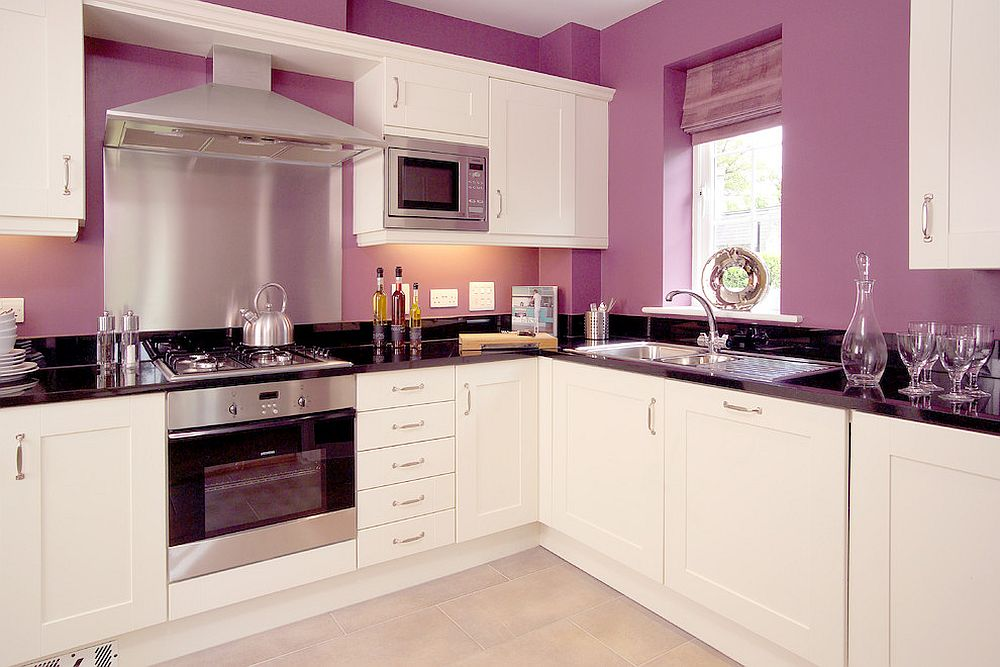 Traditional kitchen in white and lighter tones of purple