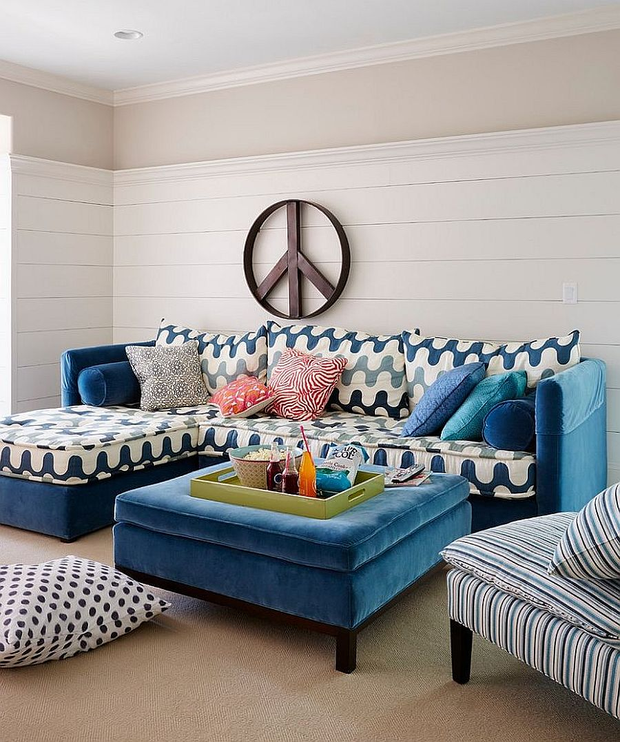 Tufted coffee table for the small beach style living room with white wooden backdrop