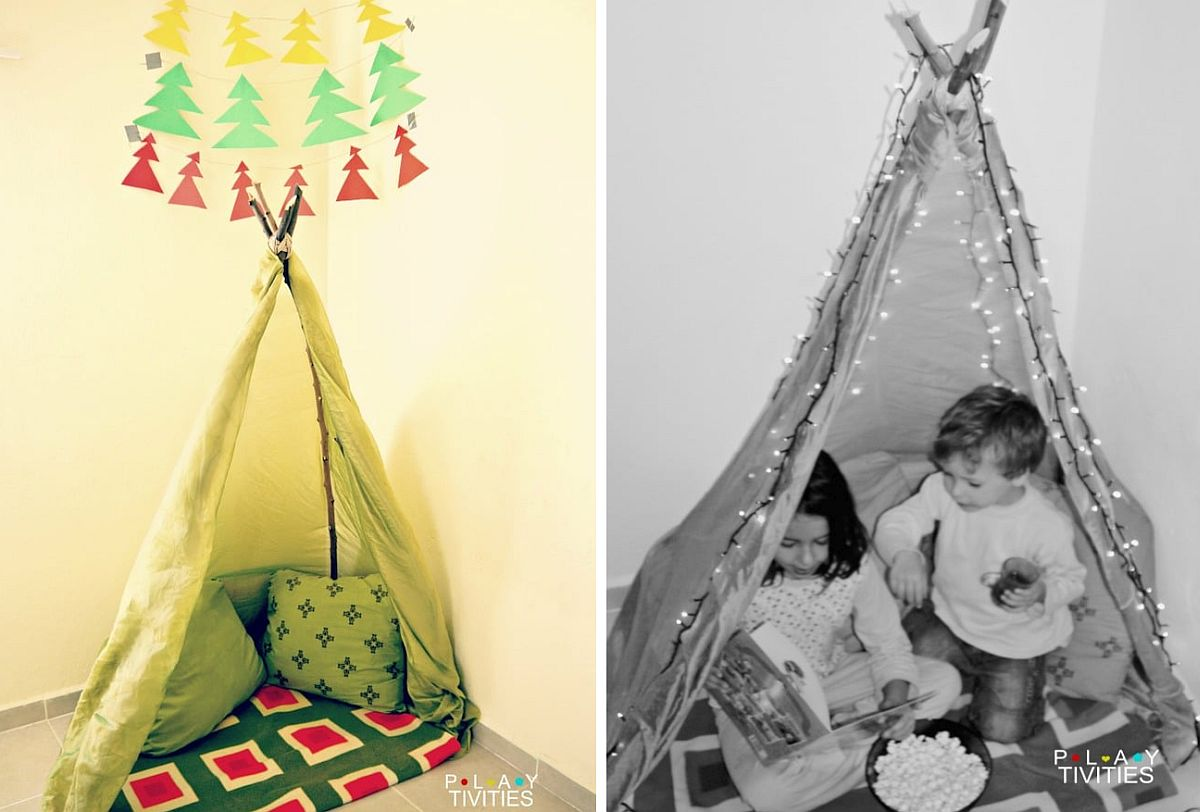 Turn the kids' room corner into playzone with 20-minute teepee tent
