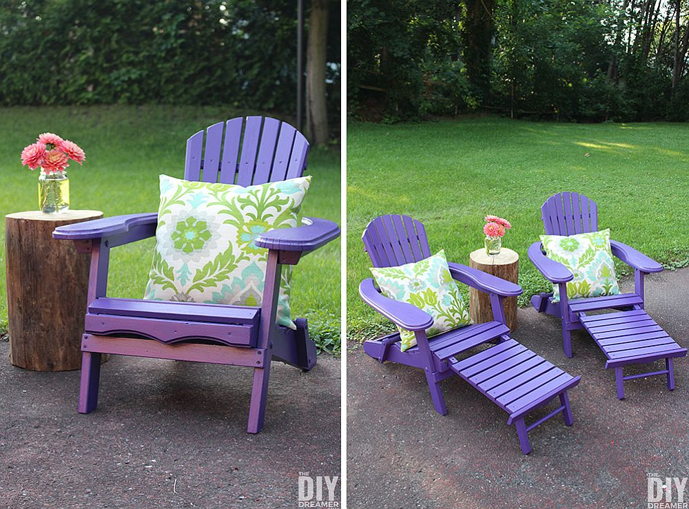 Ultra-cheap DIY Adirondack chairs with purple and violet tinge