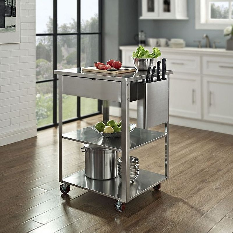 Ultra-tiny kitchen cart on wheels can also double as a cool kitchen island