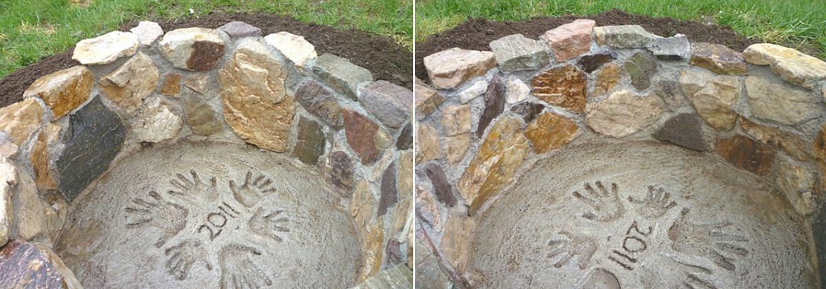 Unique stone and mortar DIY fire pit