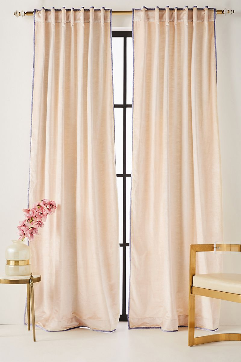 Velvet curtains with contrasting trim
