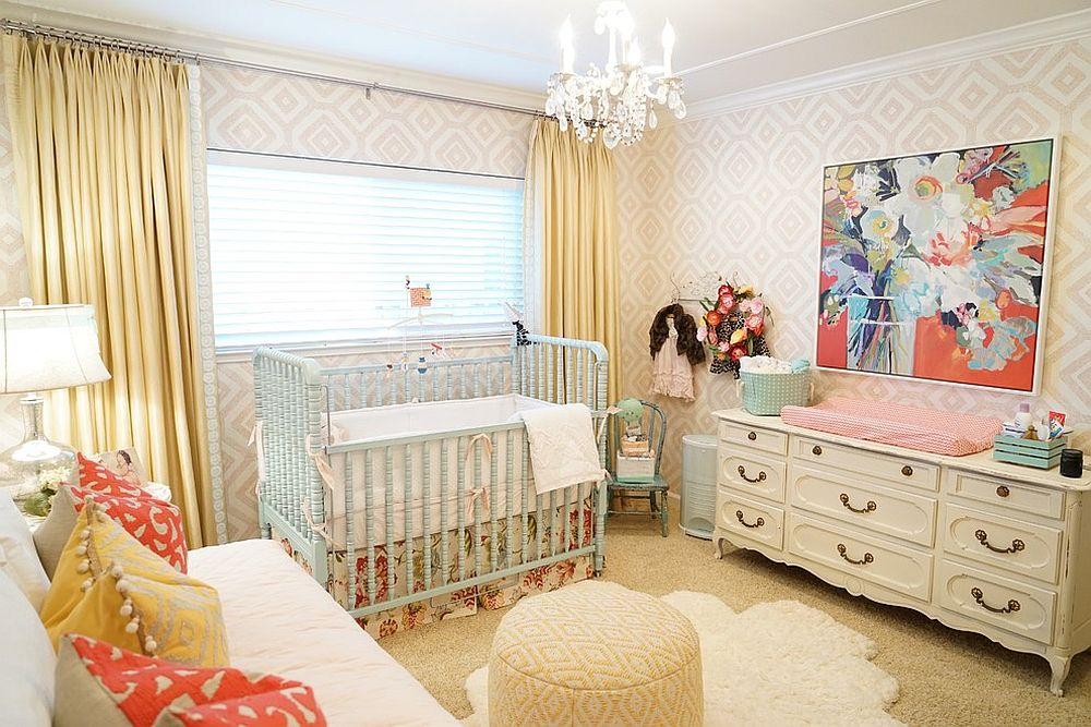 Wallpaper and rug adds glamor to the small nursery