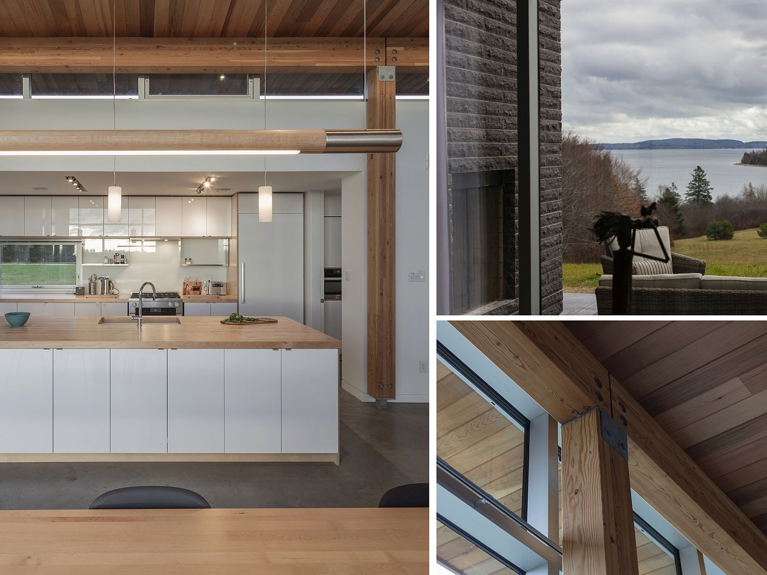 Warm wooden tones and lovely ocean views greet you at the Candian home