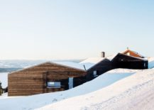 White-roof-and-dark-exterior-of-the-cabin-present-a-picture-of-contrast-217x155