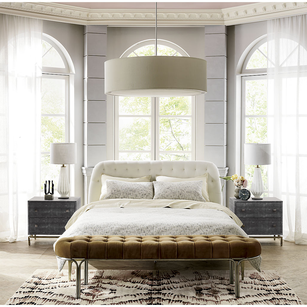 White velvet cream bed from CB2