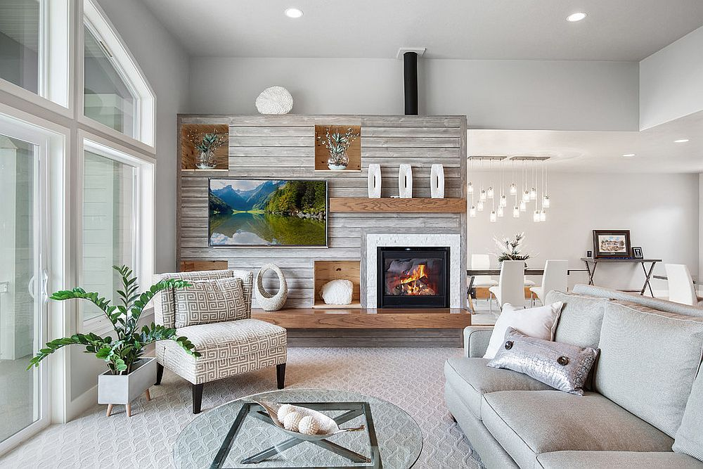 Wooden accent wall steals the show in this dashing white living room
