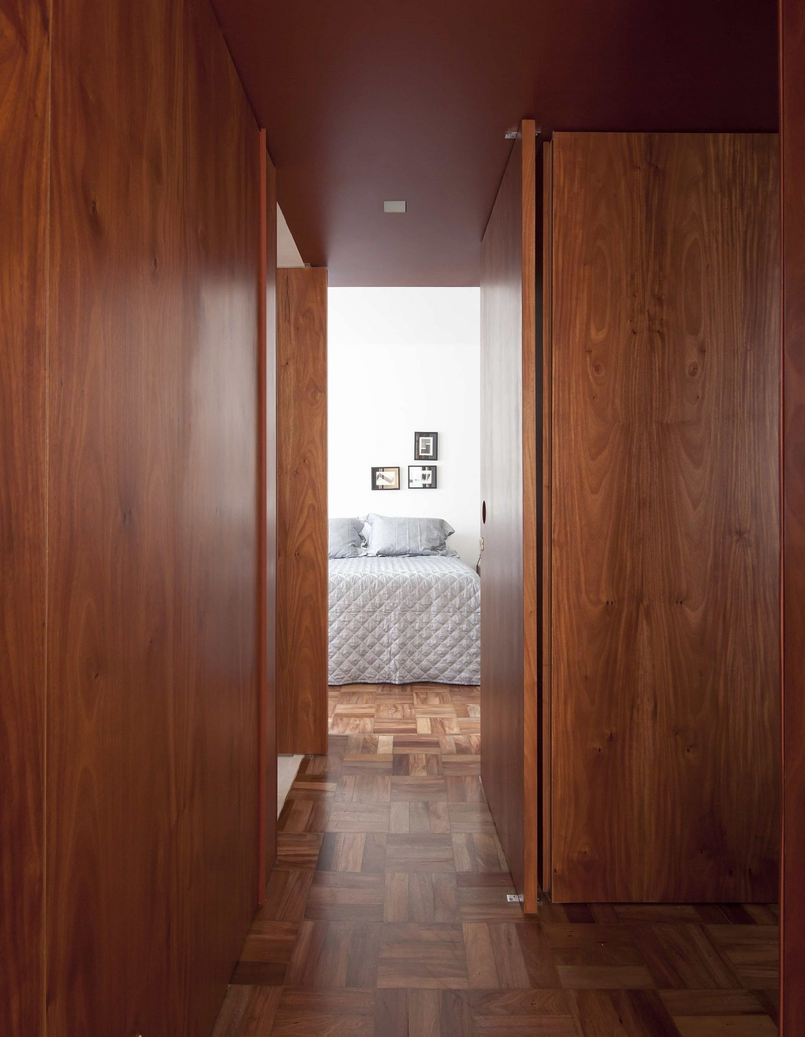 Wooden panels and unique floor give the apartment, cozy, bright appeal