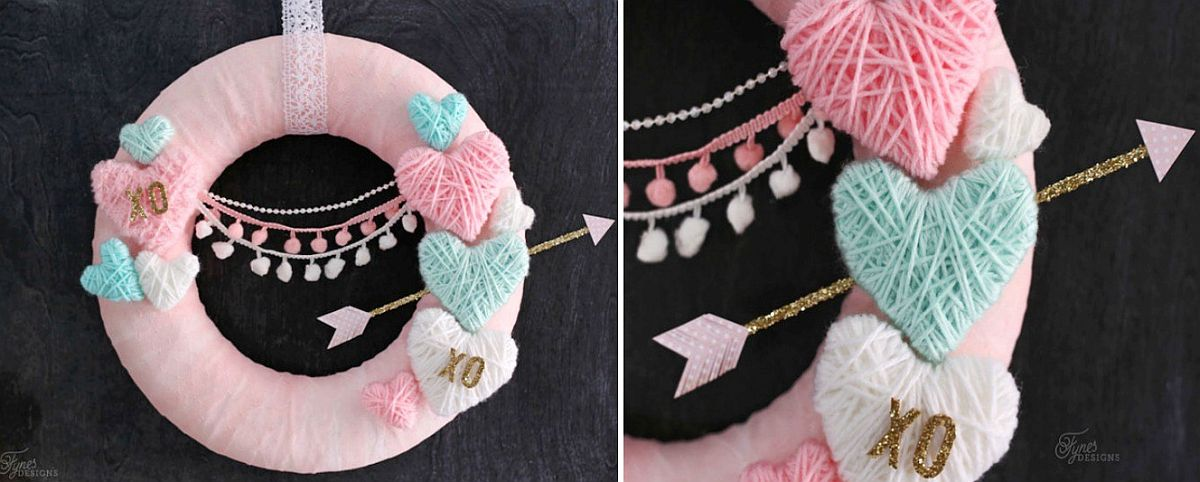 Yarn wrapped hearts create a colorful and chic wreath