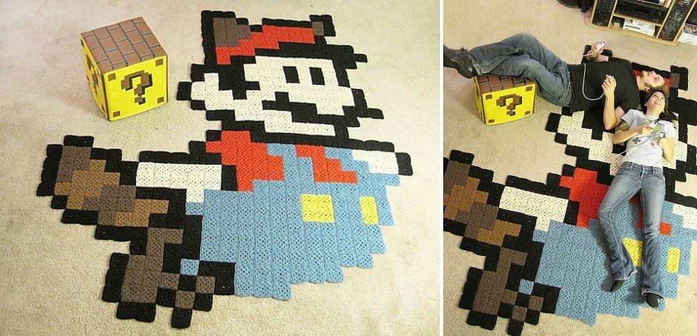 8-bit Raccoon Mario Rug for those who love the Nintendo world!