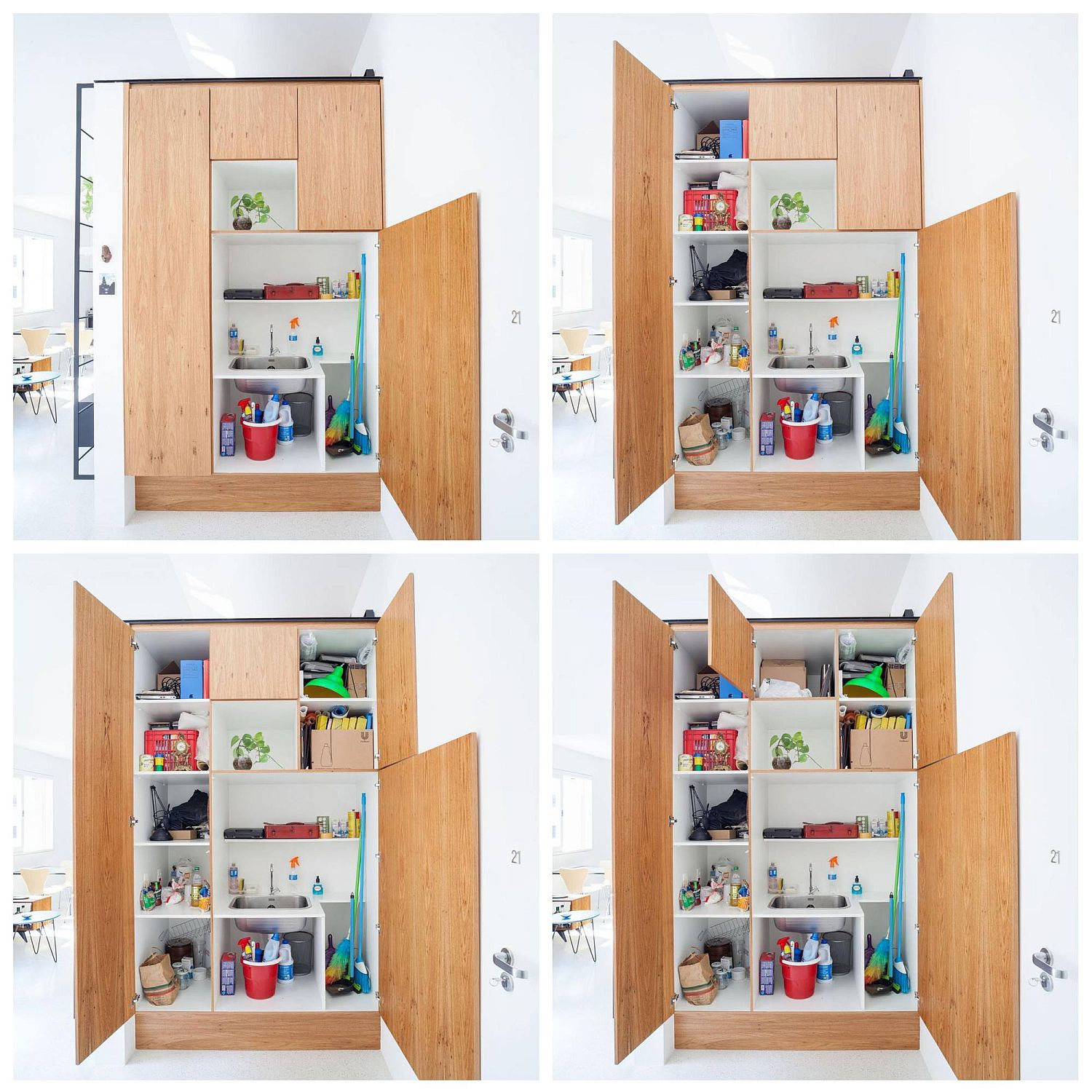 Big pantry cabinet in the living room hides pretty much everything and anything