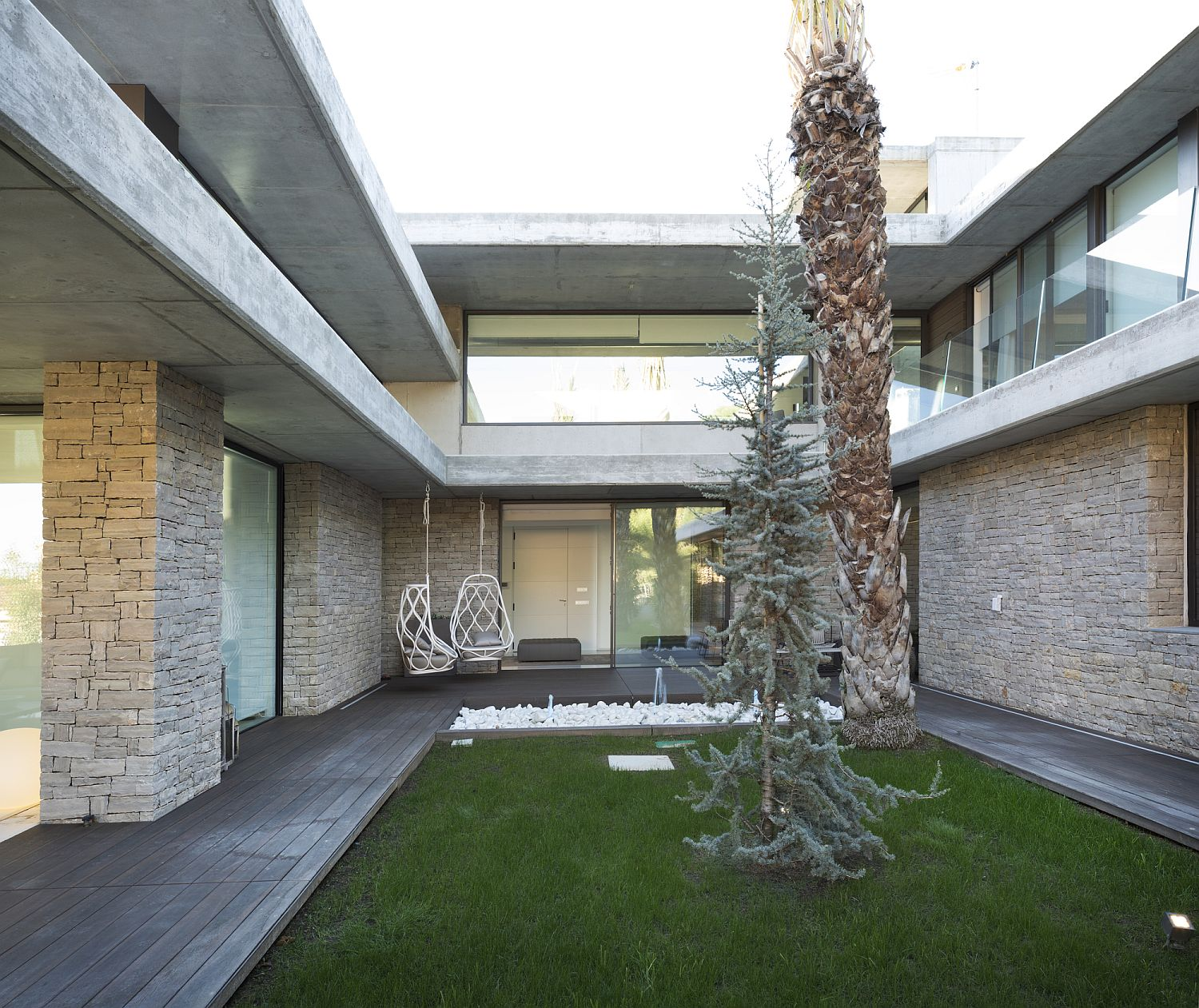 Central courtyard of modern house with a relaxing ambiance