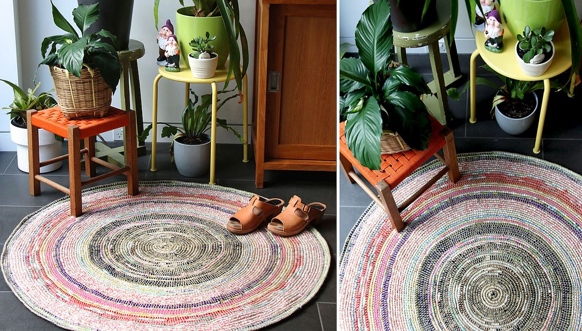 Coiled and crochet rug with colorful zest