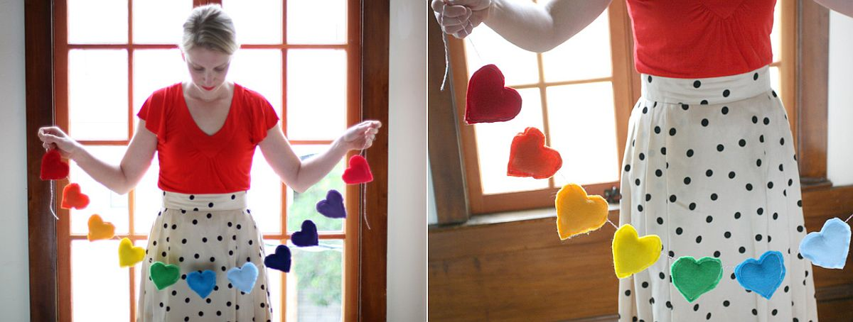 Colorful Valentine's Day Rainbow banner DIY