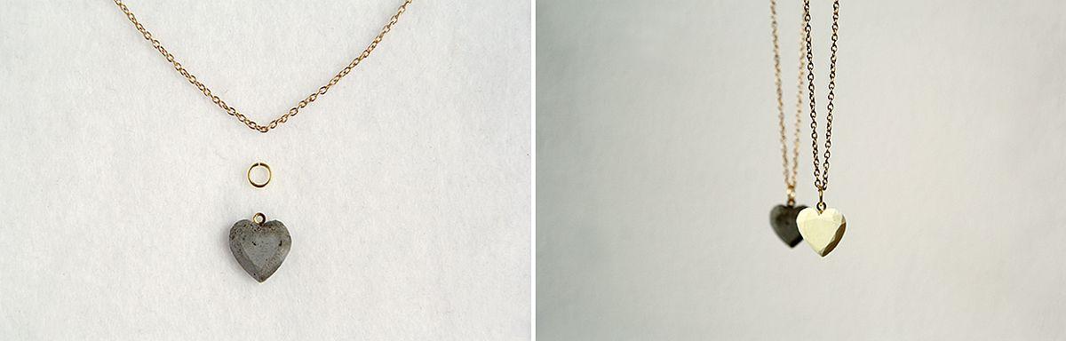 Concrete heart necklace DIY