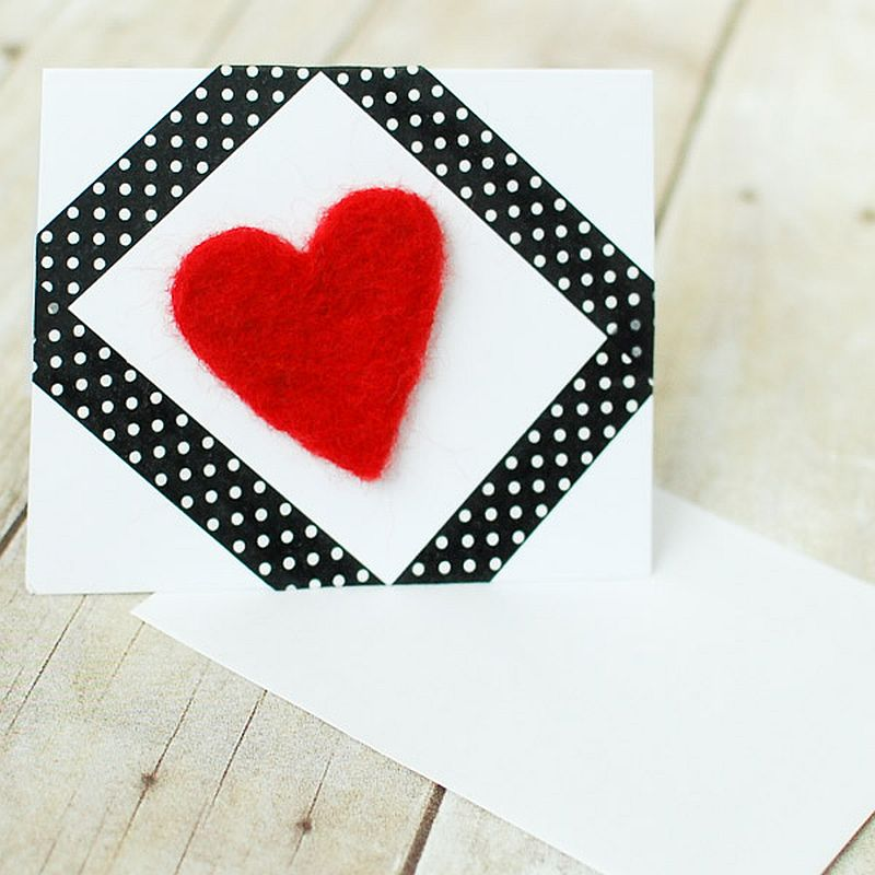 DIY Needle Felted Heart Valentine's Day Card