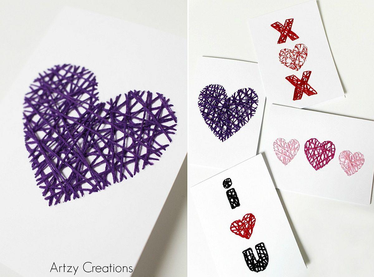 DIY String Art in Purple for Valentine's Day