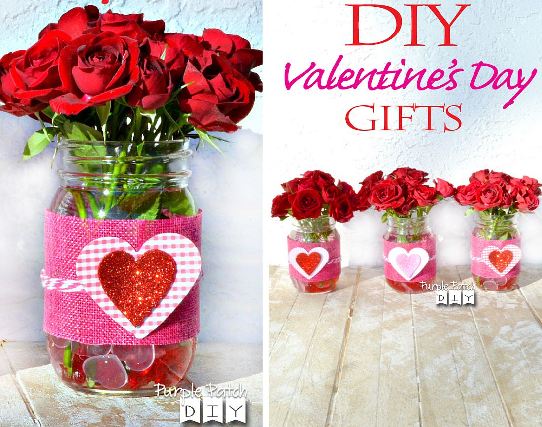 DIY Valentine's Day Gift with flowers in a jar