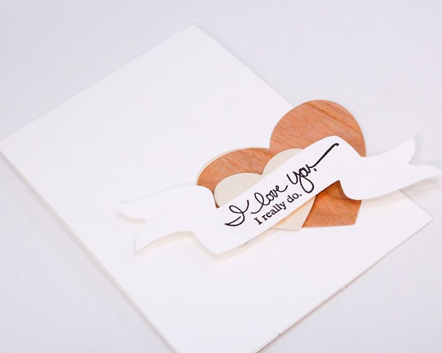 DIY Wood Veneer Valentine's Card